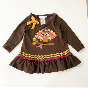 Toddler Girl Brown Turkey Dress 12 MO